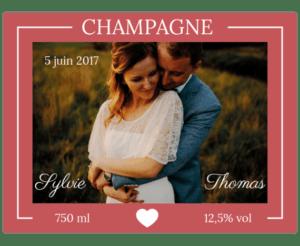 etiquette champagne mariage